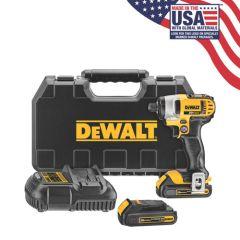 "DEWALT 20V MAX Lithium Ion 1/4"" Impact Driver Kit (1.5Ah)"