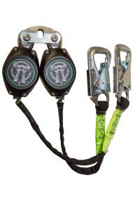 SAFEWAZE 7' Web Retractable Dual Leg, Tie-Back Hooks (Carabiner attaches to back D-ring)