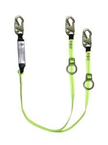 SAFEWAZE Tie-Back Energy Absorbing Lanyard Dual Leg - Web with Adjustable Ring
