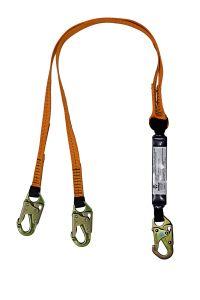 SAFEWAZE 6' Energy Absorbing Lanyard with Double Locking Snap Hooks Dual Leg