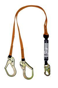 SAFEWAZE 6' Energy Absorbing Lanyard with Rebar Hooks Dual Leg