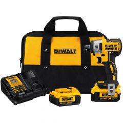 DEWALT 20V MAX XR Lithium-Ion Cordless 3/8 in. Brushless Impact Wrench Kit with (2) Batteries 4Ah, Charger and Bag