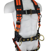 SAFEWAZE V-LINE Construction Style Three D-Ring Harness with Grommet Leg Straps: L