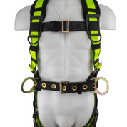 SAFEWAZE No-Tangle Construction Harness with Back Pad and Fixed D-Ring: L