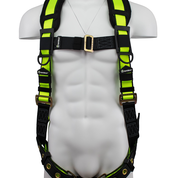 SAFEWAZE No-Tangle Single D-Ring Harness with Grommet Legs and Fixed D-Ring: S/M