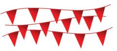 "Electro-Tape 12"" x 18"" x 105ft string Pennant Flags -  Red 10/CS"