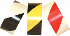"""Electro-Tape  4""""  (100 mm)   x 36 yd Safety Striped PVC Marking Tape - Black/Yellow 12/CS"""