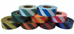 "Electro-Tape 1 3/16"" (30 mm) x 300 ft Flagging Tape -Striped (Non-Glow) PVC - Blue/White 12/CS"