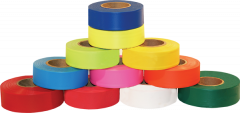 "Electro-Tape 1 3/16"" (30 mm) x 150 ft Flagging Tape - High Visibility (Glow) PVC - Orange 12/CS"