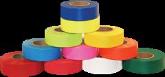 "Electro-Tape 1 3/16"" (30 mm) x 300 ft Flagging Tape - Standard (Non-Glow) PVC - Orange 12/CS"