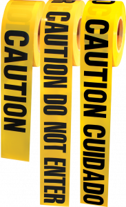 "Electro-Tape 1.5mil-3"" (75 mm) x 1000 ft Barricade Tape-Caution/Caution Yellow/Black 8/CS"
