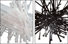 "Electro-Tape 11"" X 50 lb. Black UV Resistant Nylon Cable Ties 100/Bag 100/CS"